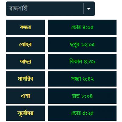 Muslim prayer time in Bengali