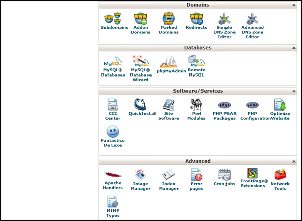 cpanel homepage